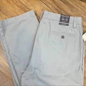 Nautica deck khaki chino pants classic fit gray